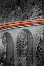 Winter, bridge, train, speed, lights