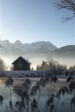 Preview iPhone wallpaper Winter, house, pond, snow, trees, mountains