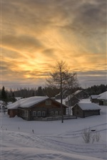 Winter, snow, village, dusk, Arkhangelsk oblast, Russia