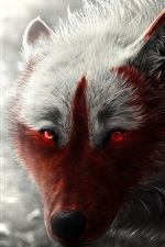 Preview iPhone wallpaper Wolf, glowing, red eyes, art picture