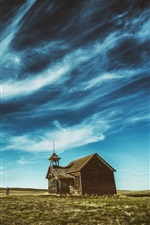 Preview iPhone wallpaper Wooden house, grass, blue sky, clouds