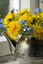 Yellow dandelions, blue forget-me-nots, kettle, windowsill