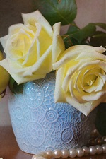 Preview iPhone wallpaper Yellow roses, water drops, jewel