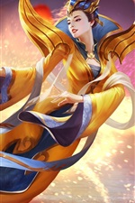 Preview iPhone wallpaper Yuanri, Heroes of Newerth, Chinese girl, flight