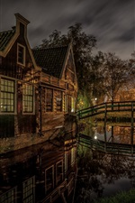 Preview iPhone wallpaper Zaanstad, Netherlands, house, lights, river, night, trees