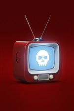 Preview iPhone wallpaper 3D design, TV, skull, red background