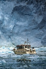 Preview iPhone wallpaper Antarctica, ice, ship, sea