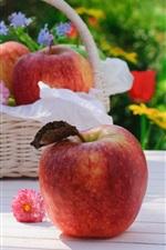 Apples, flowers, basket