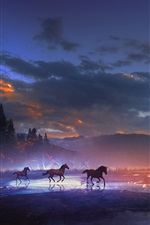 Preview iPhone wallpaper Art design, mountains, horses, moon, clouds, night, lights