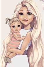 iPhone обои Художественный рисунок, зеленые глаза девушка и ребенок