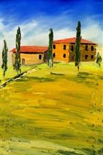 Vorschau des iPhone Hintergrundbilder Kunstmalerei, Toskana, Italien, Häuser, Bäume