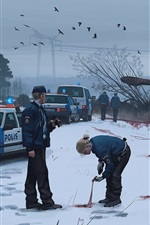 Preview iPhone wallpaper Art painting, police, cars, snow, winter