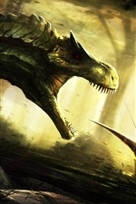 Preview iPhone wallpaper Art picture, dinosaur, attack