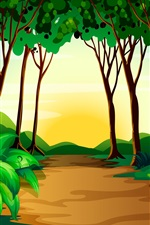 Preview iPhone wallpaper Art picture, trees, path, nature