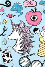 Preview iPhone wallpaper Art sketch, unicorn, ice cream, apple, egg, lightning, colorful