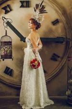 Preview iPhone wallpaper Asian girl, bride, clock, flowers