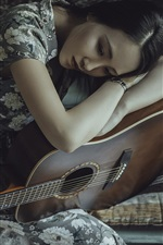 Preview iPhone wallpaper Asian girl, guitar, sadness