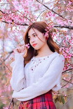 Preview iPhone wallpaper Asian girl, pink flowers bloom, tree, spring