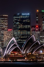 Preview iPhone wallpaper Australia, Sydney, opera house, skyscrapers, illumination, night