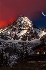 Preview iPhone wallpaper Austria, peak, mountain, snow, wooden house, moon, night