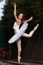 Preview iPhone wallpaper Ballerina, dancing girl, railroad