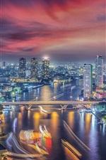Preview iPhone wallpaper Bangkok, Thailand, city night, river, bridge, skyscrapers, lights