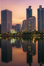Preview iPhone wallpaper Bangkok, Thailand, skyscrapers, lights, dusk, river, water reflection