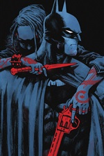 Preview iPhone wallpaper Batman, cloak, gun, knife, enemy, comic