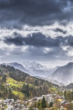 Preview iPhone wallpaper Bayern, Germany, mountains, city, Alps