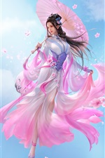 Preview iPhone wallpaper Beautiful Chinese girl, fantasy, pink skirt, retro style, umbrella