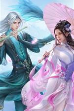 Linda menina e menino, amantes, estilo retrô chinês