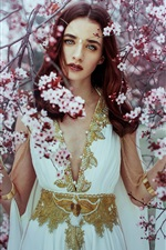Beautiful girl, cherry flowers, tree, spring