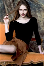 Beautiful girl, mesh socks, legs, pose, sofa