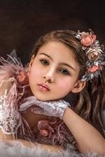 Preview iPhone wallpaper Beautiful little girl, skirt, flowers