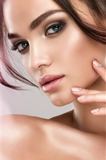 Preview iPhone wallpaper Beautiful model girl, hairstyle, earring