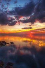 Preview iPhone wallpaper Beautiful sunset, nature landscape, lake, stones, clouds, red sky