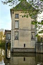 Preview iPhone wallpaper Belgium, Nivelles, medieval architecture, castle, river