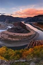Bending river, rocks, trees, hills, autumn