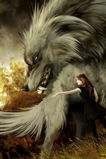 Big wolf, girl, art picture