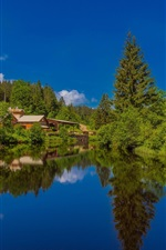 Preview iPhone wallpaper Black Forest, lake, houses, Germany, Baden-Wurttemberg