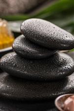 Preview iPhone wallpaper Black stones, water droplets, SPA theme