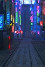Vorschau des iPhone Hintergrundbilder Blade Runner 2049, Zukunftsstadt, Straße, Nacht, Lichter