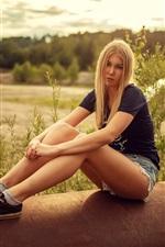 Preview iPhone wallpaper Blonde girl, shorts, summer