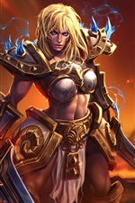 Preview iPhone wallpaper Blonde girl, warrior, World of Warcraft