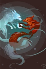 Preview iPhone wallpaper Blue and red foxes, art picture
