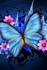 Preview iPhone wallpaper Blue butterfly and pink flowers, creative design