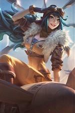 Preview iPhone wallpaper Blue hair girl, pilot, plane, League of Legends