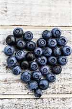 Preview iPhone wallpaper Blueberries love heart, wood board