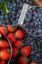 Preview iPhone wallpaper Blueberries, strawberries, fruit, chocolate candy