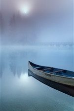 Preview iPhone wallpaper Boat, lake, haze, morning